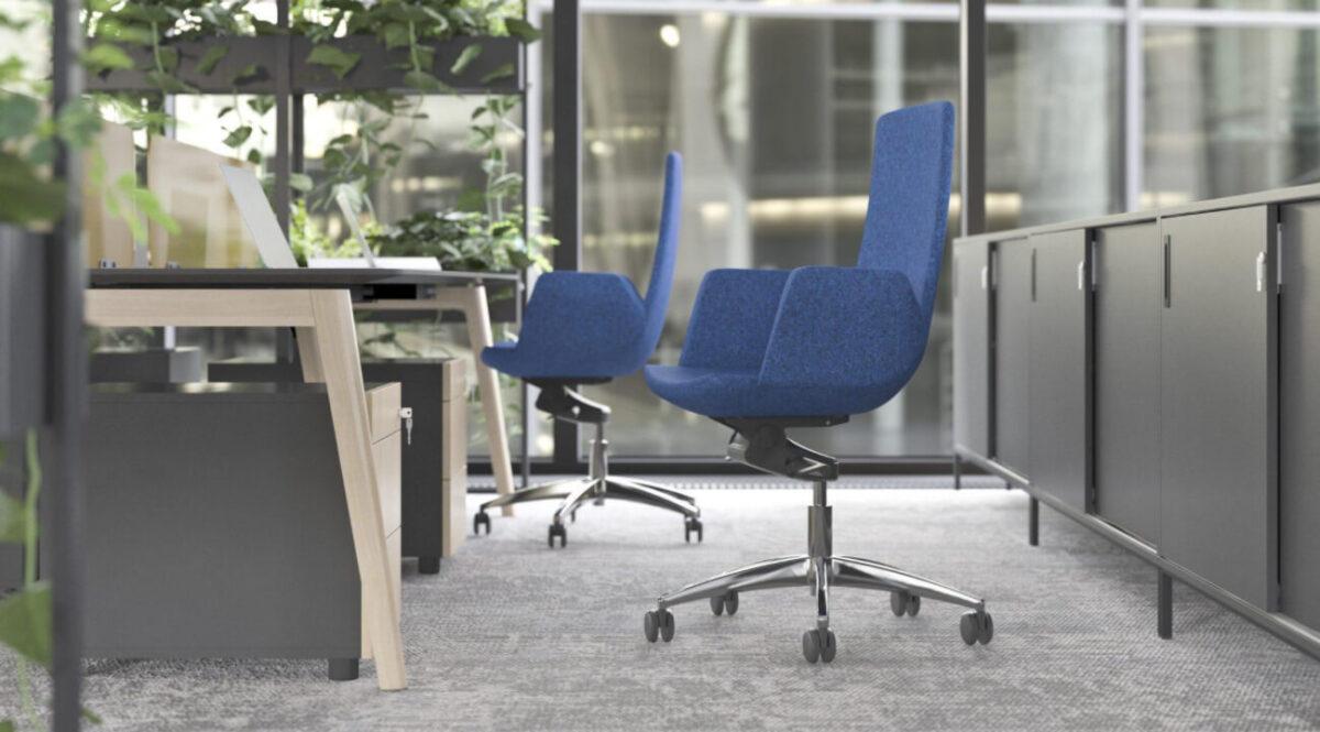 scaun birou confortabil albastr