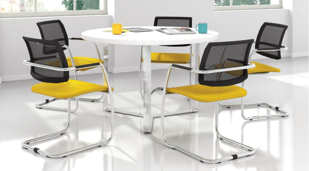 scaun conferinte galben scandinav